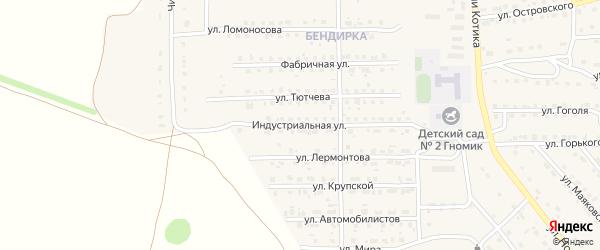 Индустриальная улица на карте поселка Локтя с номерами домов