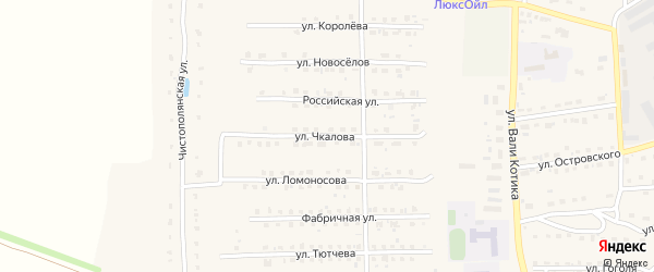 Улица Чкалова на карте поселка Локтя с номерами домов