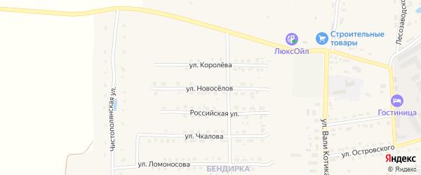 Улица Новоселов на карте поселка Локтя с номерами домов
