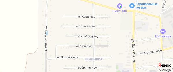 Российская улица на карте поселка Локтя с номерами домов