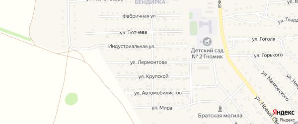 Улица Лермонтова на карте поселка Локтя с номерами домов