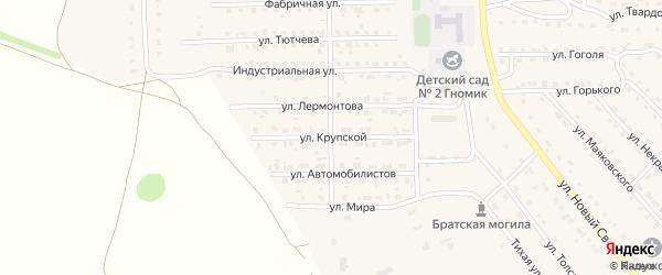 Улица Крупской на карте поселка Локтя с номерами домов