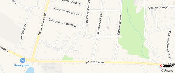 Октябрьский переулок на карте поселка Локтя с номерами домов