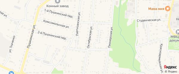 Октябрьская улица на карте поселка Локтя с номерами домов
