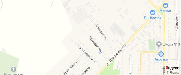 Парковый переулок на карте поселка Локтя с номерами домов
