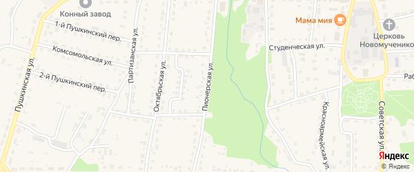 Пионерская улица на карте поселка Локтя с номерами домов