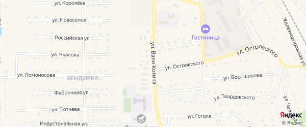 Улица Вали Котика на карте поселка Локтя с номерами домов