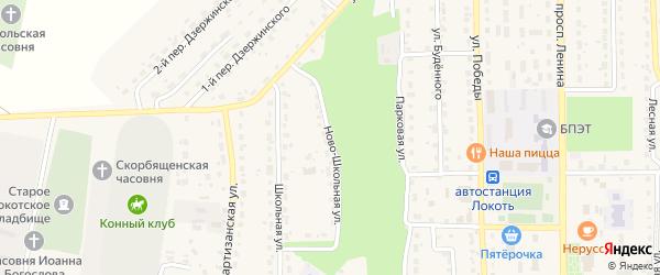 Ново-Школьная улица на карте поселка Локтя с номерами домов