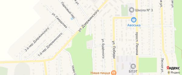 Парковая улица на карте поселка Локтя с номерами домов