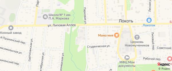 Студенческая улица на карте поселка Локтя с номерами домов