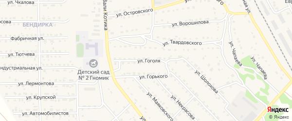 Улица Гоголя на карте поселка Локтя с номерами домов