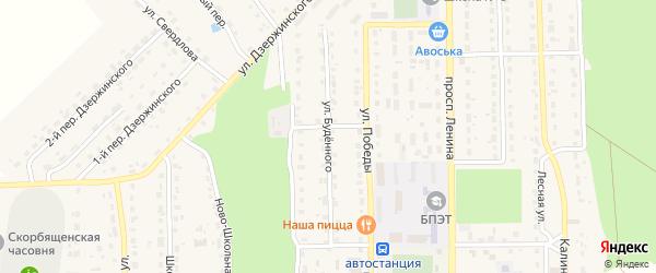 Улица Буденного на карте поселка Локтя с номерами домов