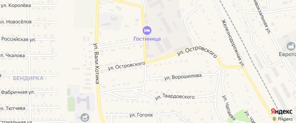 Улица Островского на карте поселка Локтя с номерами домов