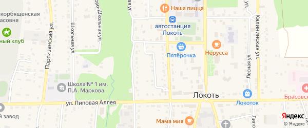 Базарный переулок на карте поселка Локтя с номерами домов
