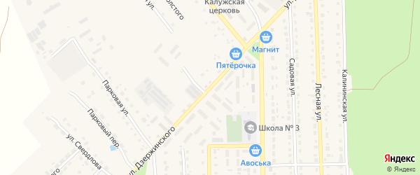 Улица Дзержинского на карте поселка Локтя с номерами домов