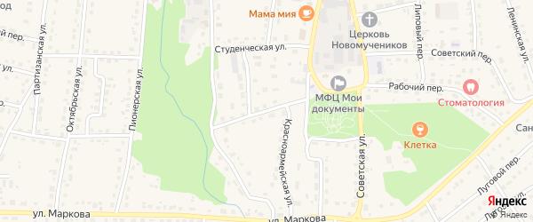 Красноармейская улица на карте поселка Локтя с номерами домов
