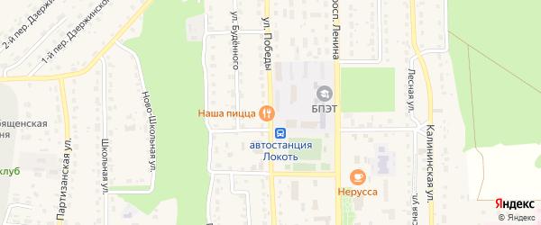 Улица Победы на карте поселка Локтя с номерами домов