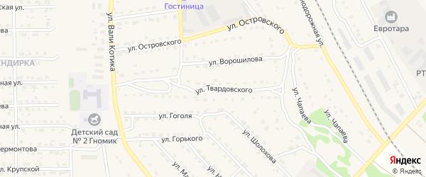 Улица Твардовского на карте поселка Локтя с номерами домов