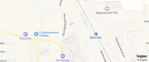 Лесозаводской переулок на карте поселка Локтя с номерами домов