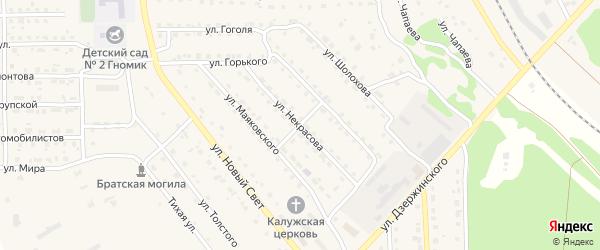 Улица Некрасова на карте поселка Локтя с номерами домов