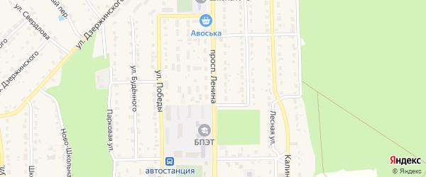 Проспект Ленина на карте поселка Локтя с номерами домов