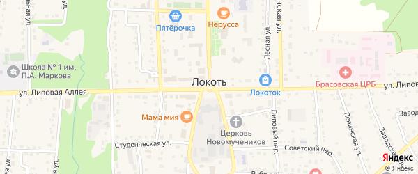 Солнечная улица на карте поселка Локтя с номерами домов