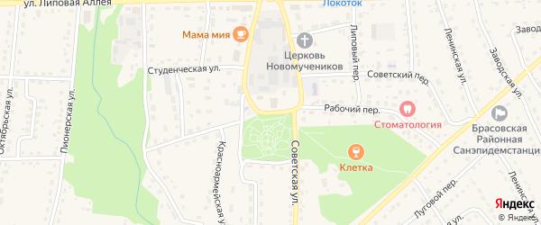 Советская улица на карте поселка Локтя с номерами домов