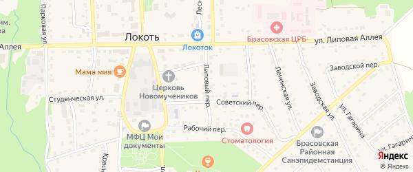 Липовый переулок на карте поселка Локтя с номерами домов