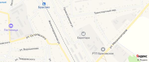 Привокзальная улица на карте поселка Локтя с номерами домов