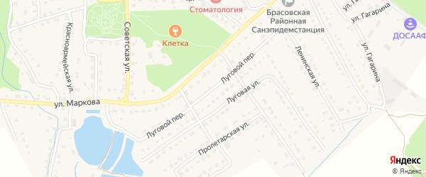 Луговой переулок на карте поселка Локтя с номерами домов