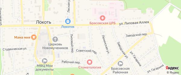 Больничный переулок на карте поселка Локтя с номерами домов