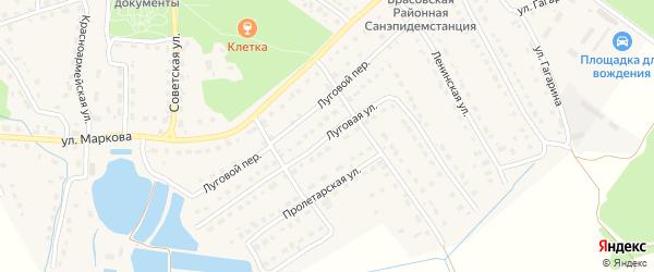 Луговая улица на карте поселка Локтя с номерами домов
