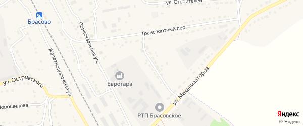 Переулок Механизаторов на карте поселка Локтя с номерами домов