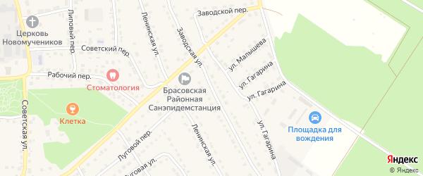 Заводская улица на карте поселка Локтя с номерами домов
