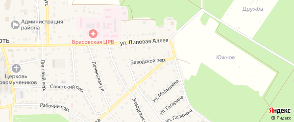 Заводской переулок на карте поселка Локтя с номерами домов