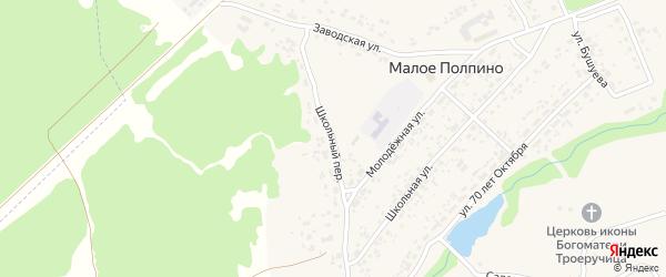 Школьный переулок на карте села Малое Полпино с номерами домов