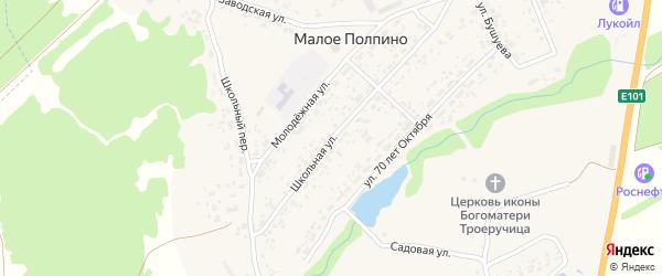 Школьная улица на карте села Малое Полпино с номерами домов