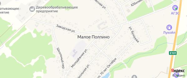 Комсомольский переулок на карте села Малое Полпино с номерами домов