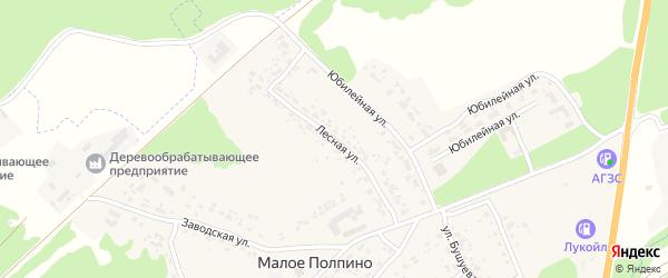 Лесная улица на карте села Малое Полпино с номерами домов