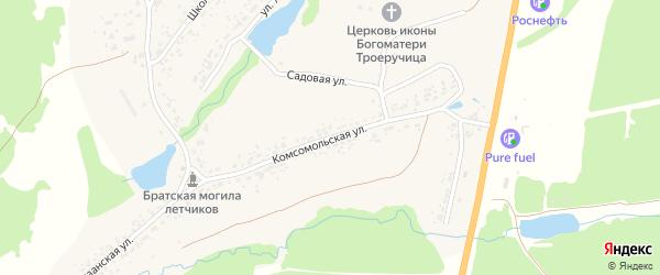 Комсомольская улица на карте села Малое Полпино с номерами домов