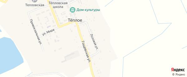 Лозовая улица на карте поселка Теплого с номерами домов