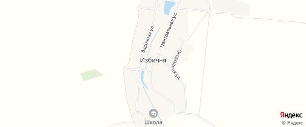 Карта села Избични в Брянской области с улицами и номерами домов