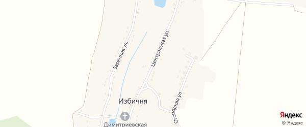 Центральная улица на карте села Избични с номерами домов