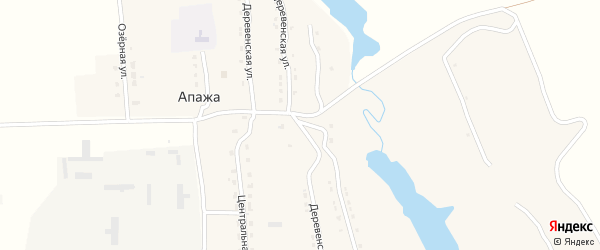 Деревенская улица на карте села Апажа с номерами домов