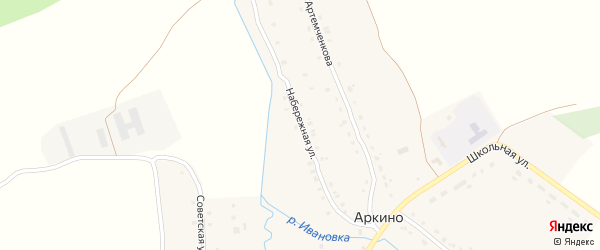Набережная улица на карте села Аркино с номерами домов