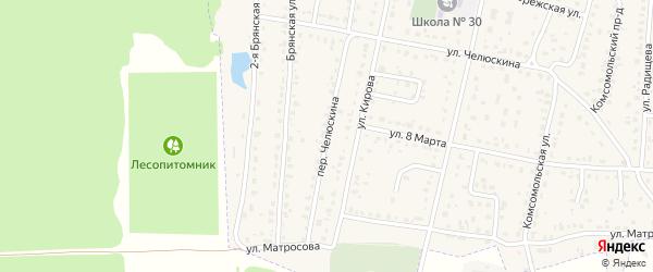 Проезд Челюскина на карте поселка Белые Берега с номерами домов