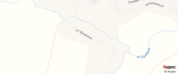 Улица Балакина на карте села Угревища с номерами домов