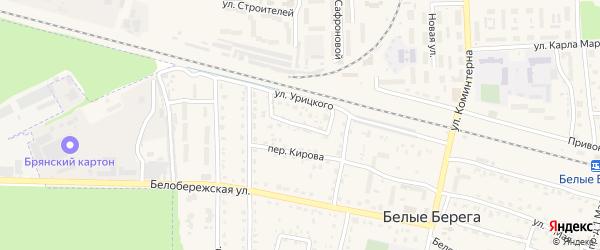 Садовый переулок на карте поселка Белые Берега с номерами домов