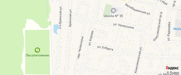 Улица Кирова на карте поселка Белые Берега с номерами домов