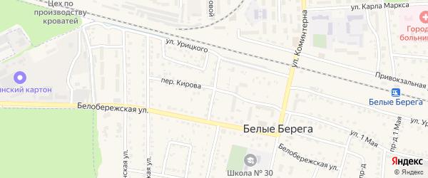 Белобережский переулок на карте поселка Белые Берега с номерами домов